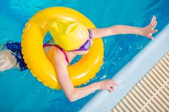 Girl Learning How to Swim stock photography
