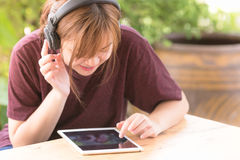 Girl learning song Stock Photography