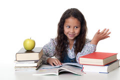Girl learns for the school Royalty Free Stock Images