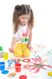 Girl learns to write Royalty Free Stock Photos