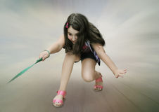 The girl with the leash Royalty Free Stock Photography
