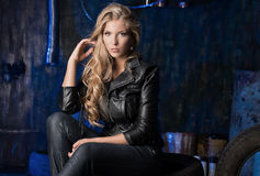 Girl in leather clothes Royalty Free Stock Photo