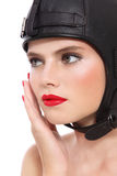 Girl in leather helmet Stock Photography