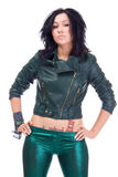 Girl in leather jacket. Isolated Royalty Free Stock Images