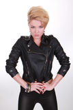 The girl in leather jacket Royalty Free Stock Image