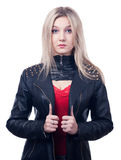 Girl in leather jacket royalty free stock photography