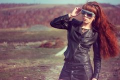 Girl in leather jacket royalty free stock image