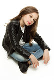 Girl in leather jacket Stock Image