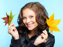 Girl in leather jacket Royalty Free Stock Photo