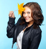 Girl in leather jacket Stock Photo