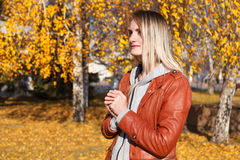 The girl in a leather jacket Royalty Free Stock Image