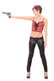 Girl in leather pants and corset. devil horns on Stock Image