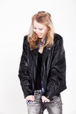 Girl in leather is smiling Royalty Free Stock Photo