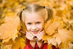 Girl with leaves Stock Images