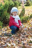 Girl with leaves Stock Photography