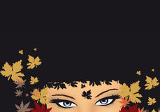 Girl with leaves stock illustration