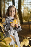 Girl in leaves autumn Stock Images