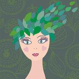Girl with leaves hair Royalty Free Stock Photography