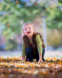 Girl with leaves Royalty Free Stock Photo
