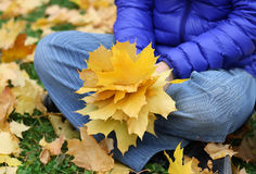 Girl with leaves stock photos