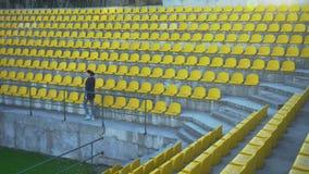 The girl leaves the stadium podium, 4k