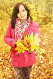 Girl with leaves Royalty Free Stock Photos