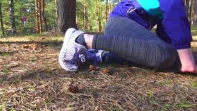 Girl trauma legs, stretching close-up