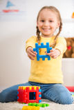 Girl with lego Stock Photo