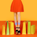 Girl legs colorful Royalty Free Stock Image