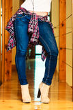 Girl legs in denim trousers dancing Royalty Free Stock Images