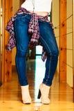 Girl legs in denim trousers dancing Royalty Free Stock Images