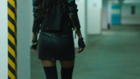 Girl legs with heels walking on the old first floor stock footage