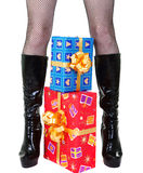 Girl legs with presents. Beautiful girl legs with christmas presents Stock Photos