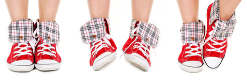 Girl legs in sport shoes Royalty Free Stock Image