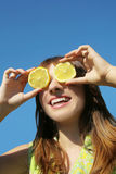 Girl with lemon Royalty Free Stock Photography