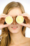 Girl with lemon Royalty Free Stock Photos
