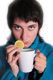 Girl with the lemon Stock Photography