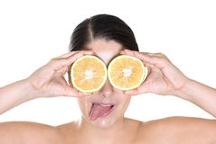 Girl with lemon eyes Royalty Free Stock Photo