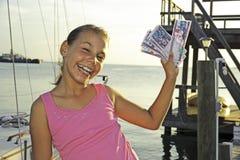Girl with Lempiras Stock Photo
