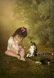 Girl and lemur Royalty Free Stock Image