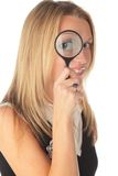 Girl with lens Stock Images