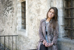 Girl in leopard coat Stock Photo