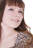 Girl in leopard dress posing over white Stock Photo