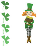 Girl leprechaun dressed as St. Patrick with pot Royalty Free Stock Images