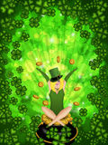 Girl Leprechaun Shamrock Background Stock Photos