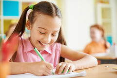 Girl at lesson Stock Photography