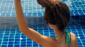 Girl let down her hair. the Action in slow motion stock footage