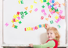 Girl with letter royalty free stock image