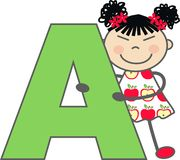 A girl with letter A Stock Image