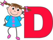 a girl with letter D Stock Photography